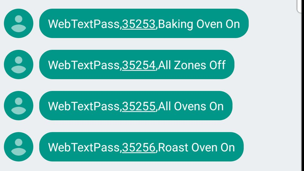 Cooker control text messages