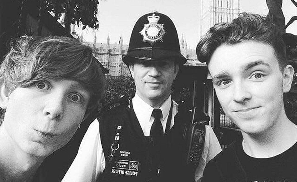 Will Robins and Tyler Chapperley-Russell with PC Palmer