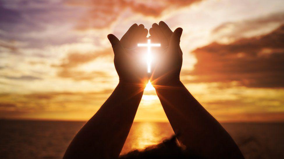 Human hands open palm up worship.