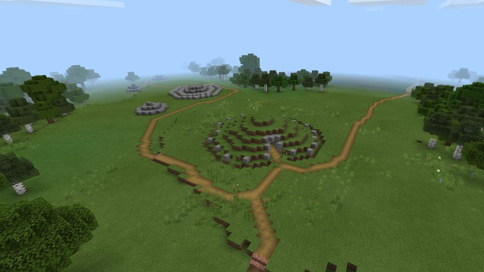 Bryn Celli Ddu site from 'the air' in Minecraft