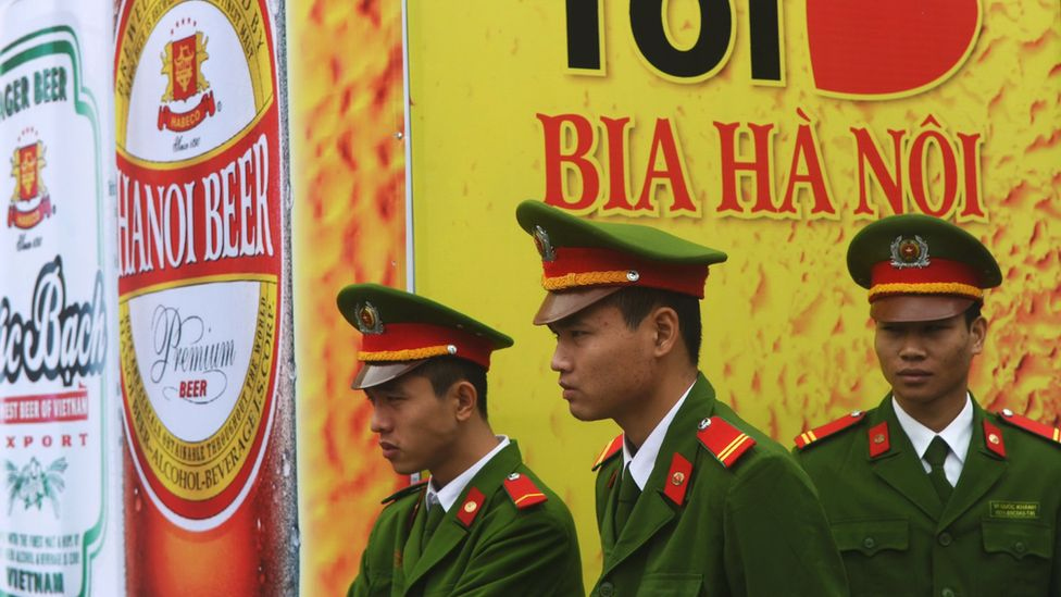 Police at Hanoi beer festival, 2014