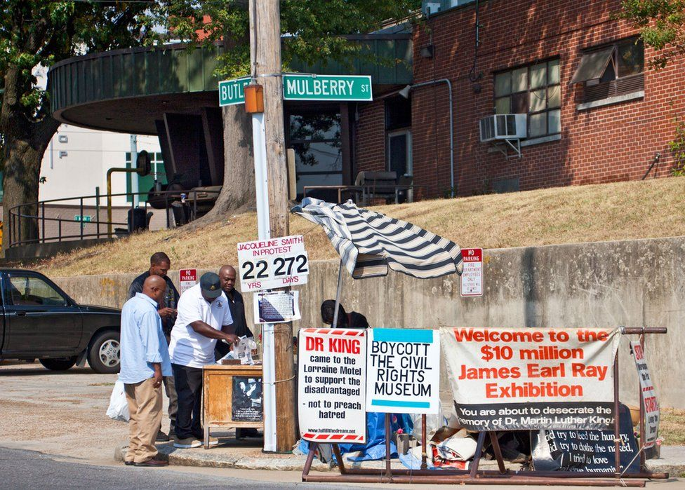 Jacqueline Smith pictured protesting outside the Lorraine Motel in 2010