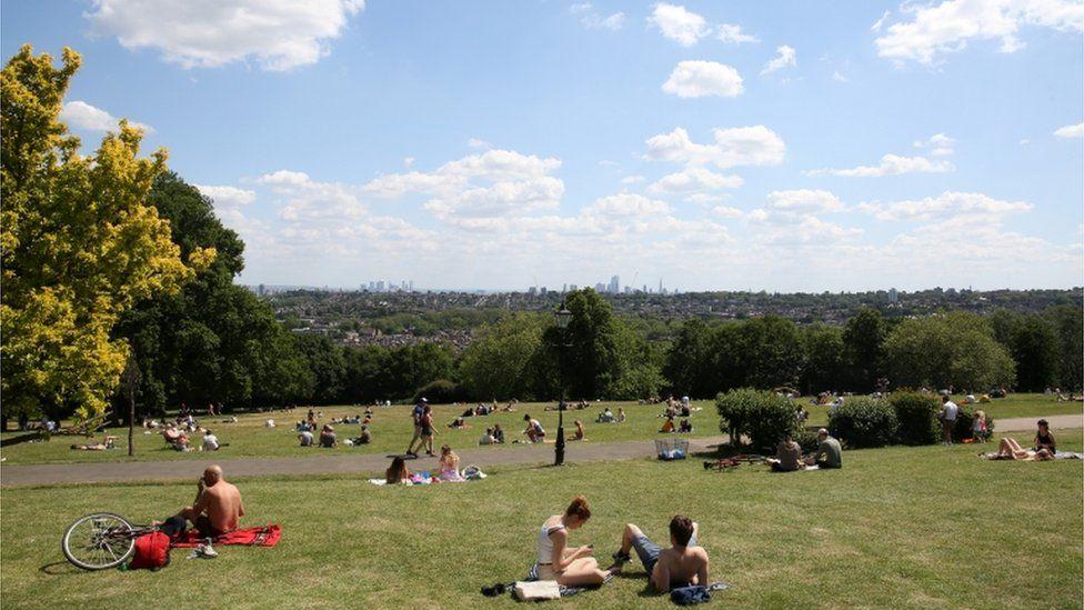 People sunbathing in Alexandra Palace park