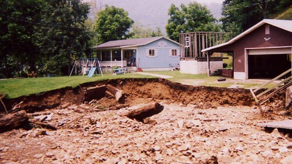 Maria Gunnoe's home has suffered flooding and landslide damage several times