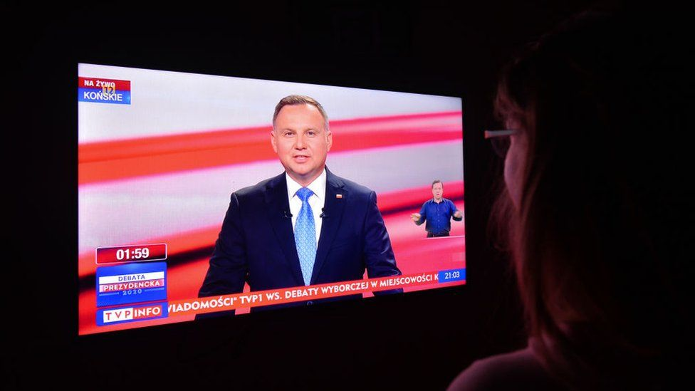 Andrzej Duda appearing on TV