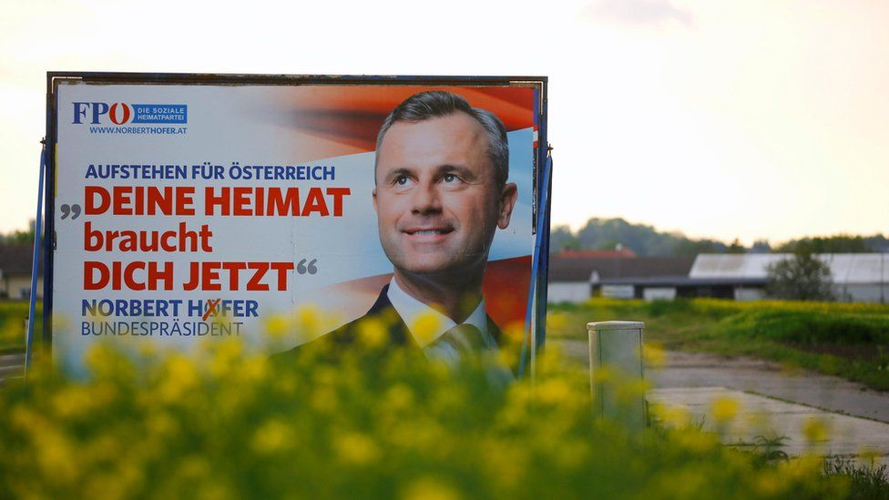 A election campaign poster of far right Freedom Party presidential candidate Norbert Hofer is seen near Nickelsdorf, Austria (3 May 2016)