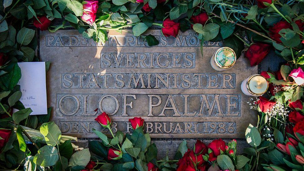 Plaque showing where Olof Palme was killed