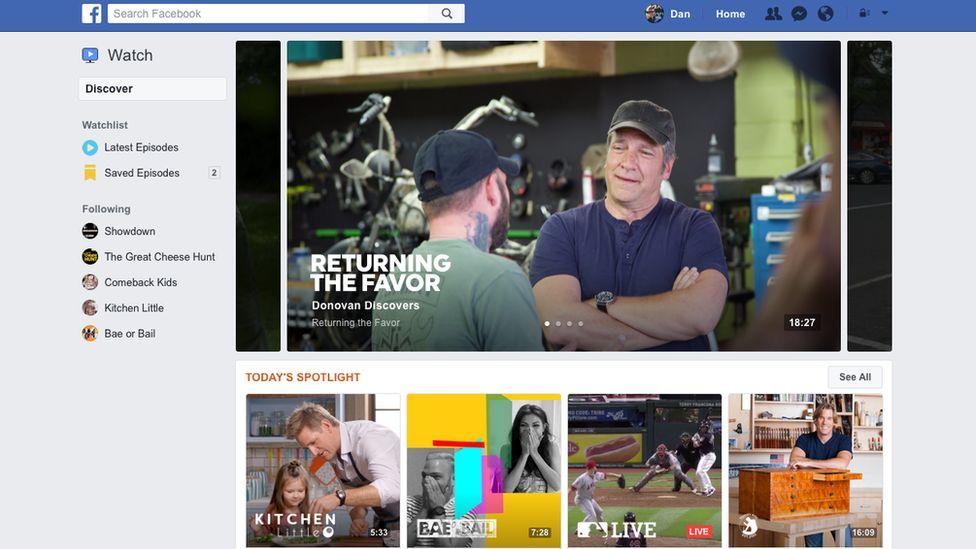 Facebook Watch screen
