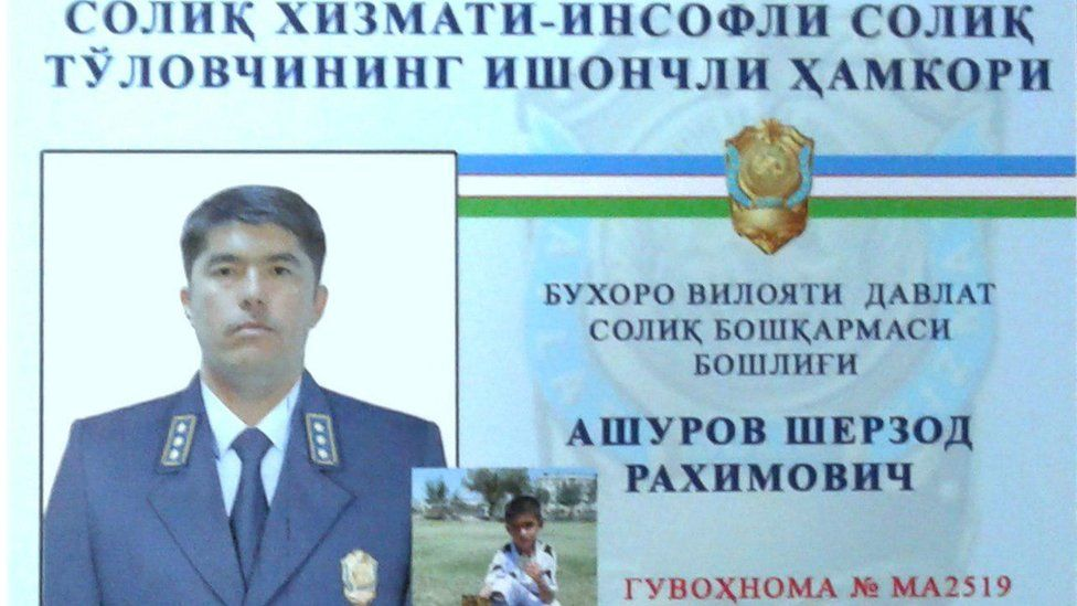 Sample identity card from the Bukhara Tax Service