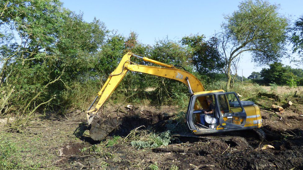 Farmland pond in Norfolk being restored