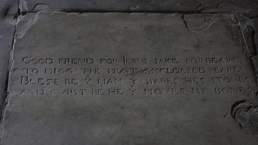 Words on a gravestone