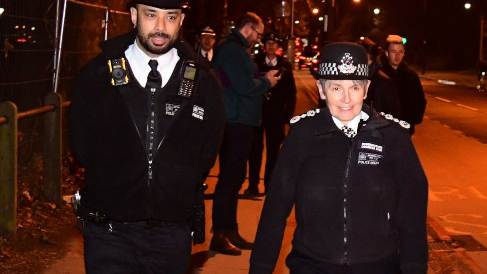 Dame Cressida Dick joins police officers at Clapham Common as part of reassurance patrols