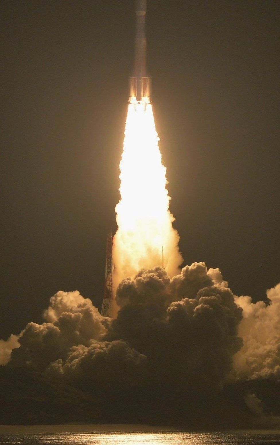 Japan's H-IIB rocket with a capsule called Kounotori, or Stork, goes up shortly after lift-off at the Tanegashima Space Center in Tanegashima, southern Japan, Friday evening, 9 December 2016.