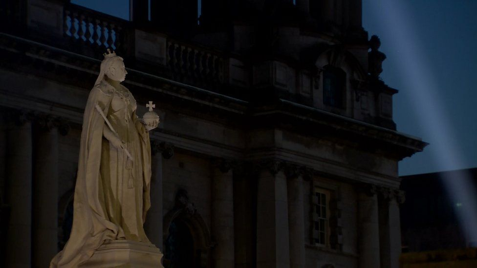 The lights were turned off at Belfast City Hall as a mark of respect on Thursday night