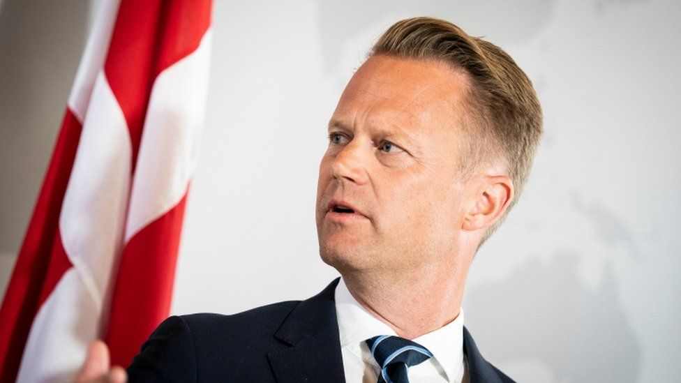 """Danish Foreign Minister Jeppe Kofod attends a news conference in Eigtved""""s House, Copenhagen, Denmark, July 21, 2020"""