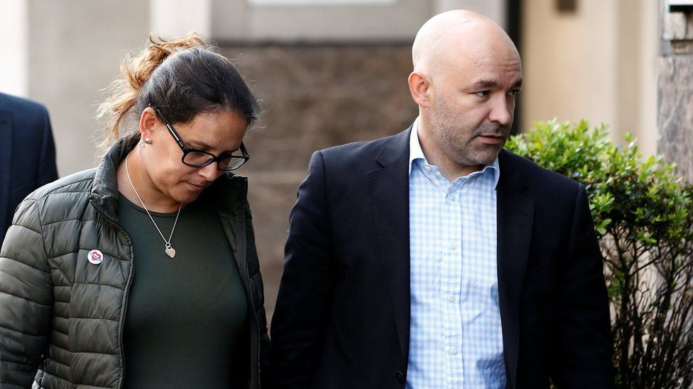 Marcio and Andreia Gomes, parents of Logan Gomes, arrive for a commemoration hearing at the opening of the inquiry into the Grenfell Tower disaster, in London