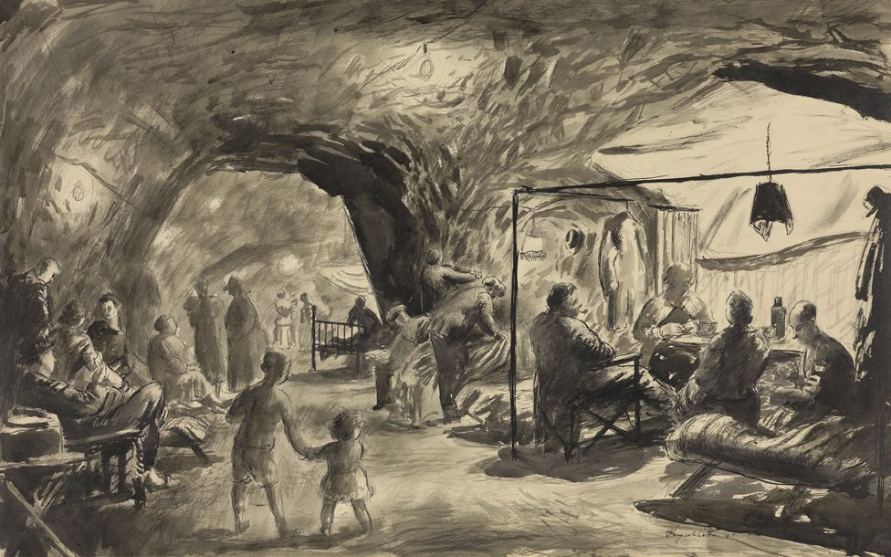 Residents brought in furniture to make the caves more homely. Painting by Henry Carr who visited Chislehurst in 1941