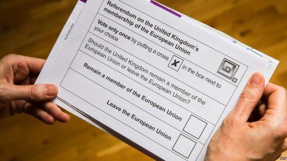 Ballot paper in 2016 EU referendum