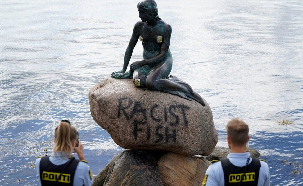 The vandalised Little Mermaid, 3 July 20