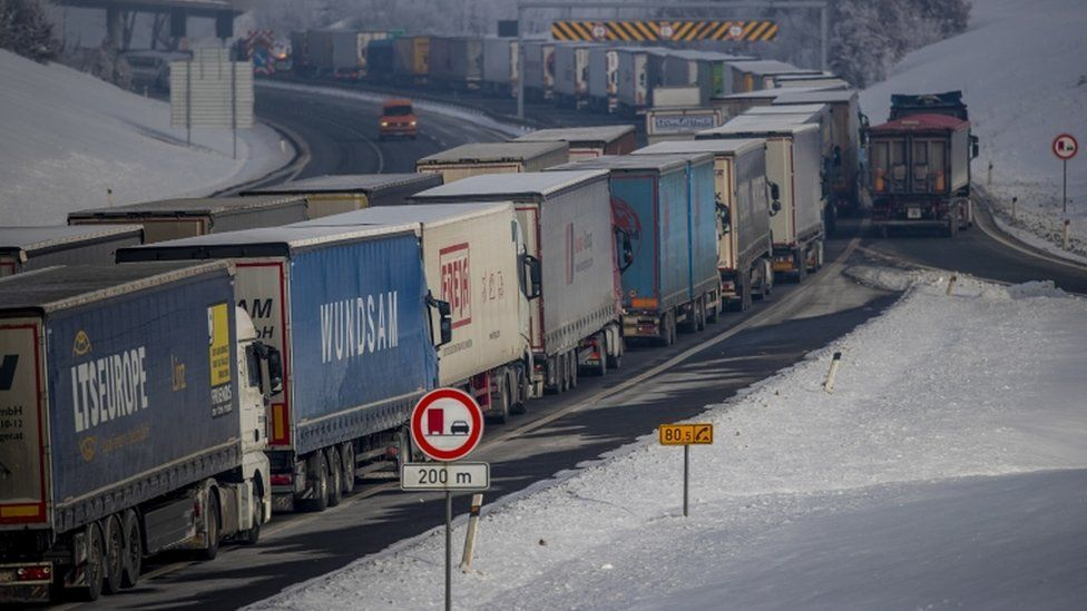 Trucks stand in the about 30km-long-tailback on highway D8 in direction of German border near Usti nad Labem, Czech Republic on 15 February