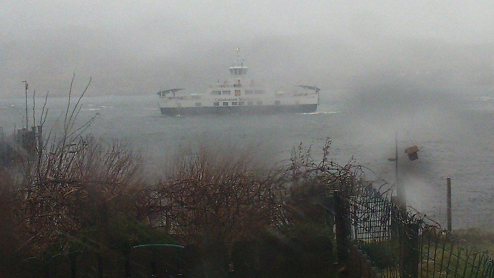 Ferry in storm