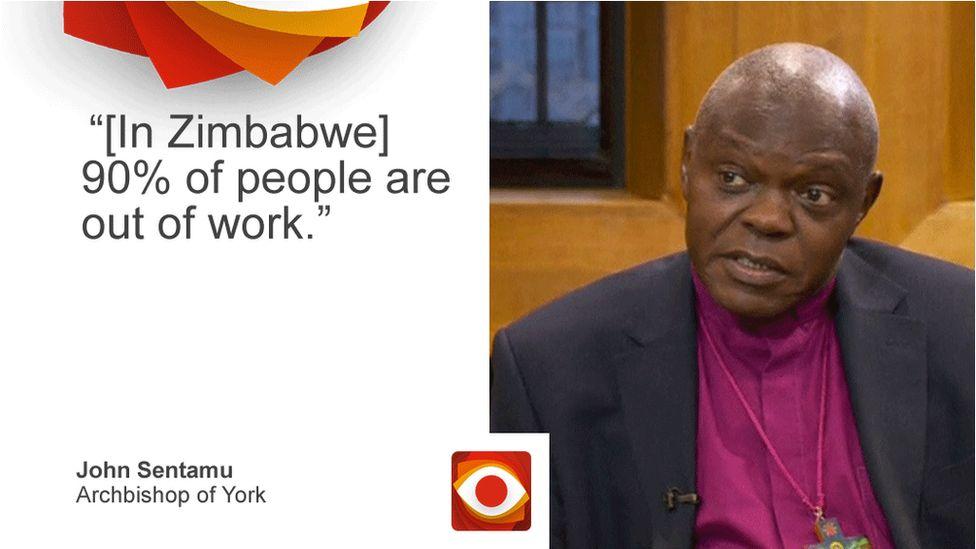 John Sentamu saying: [In Zimbabwe] 90% of people are out of work