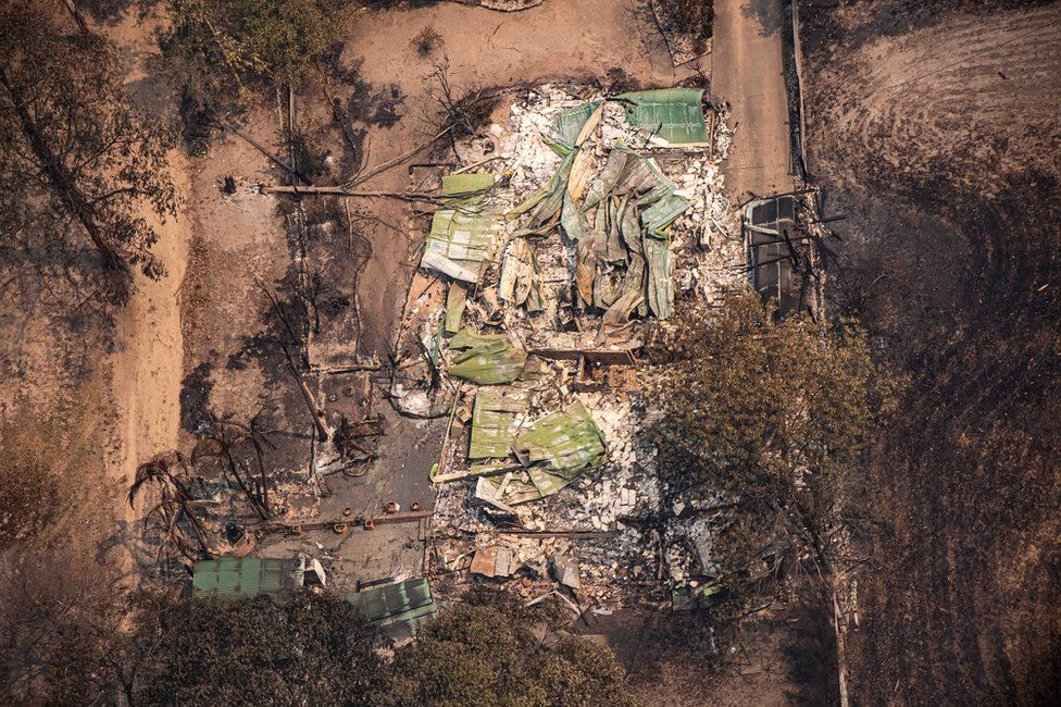 An aerial view of property damaged by bushfires