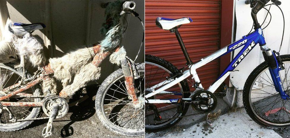 A Burner bike before and after