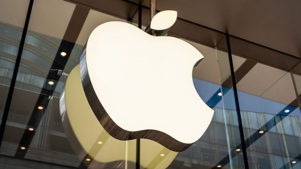 The Apple logo at one of its stores