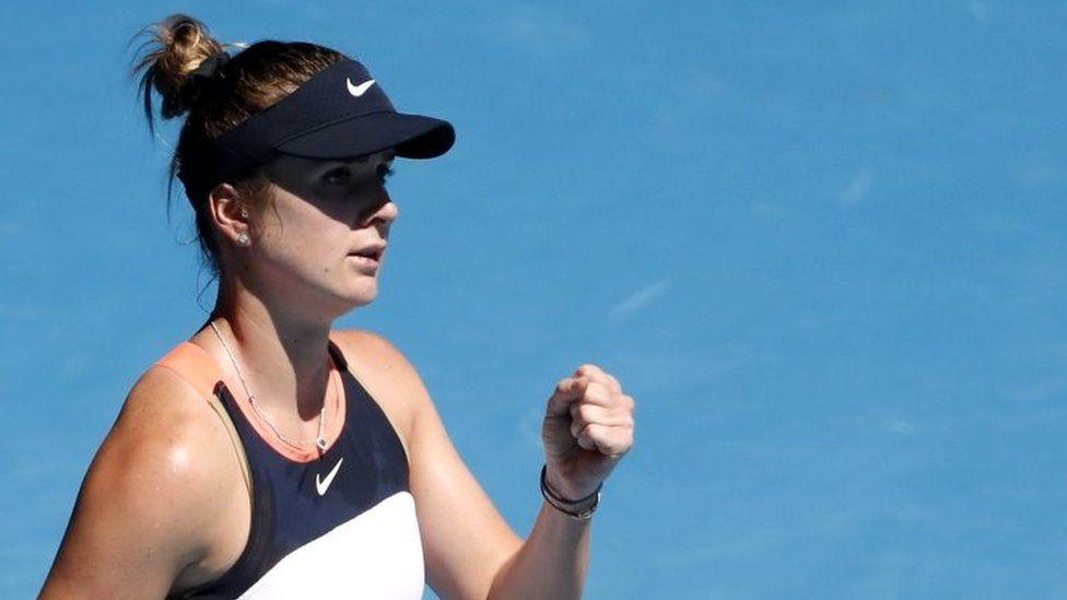 Elina Svitolina celebrates winning her match at the Australian Open