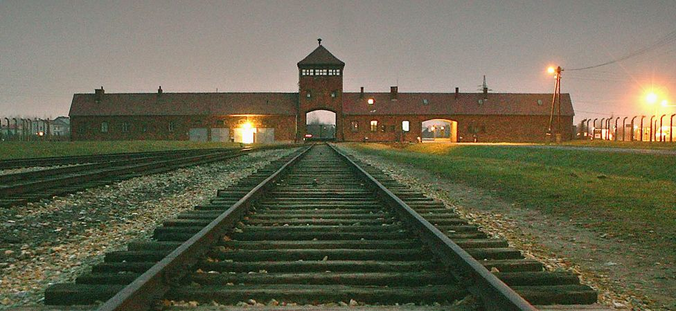 Auschwitz main gate and railway line