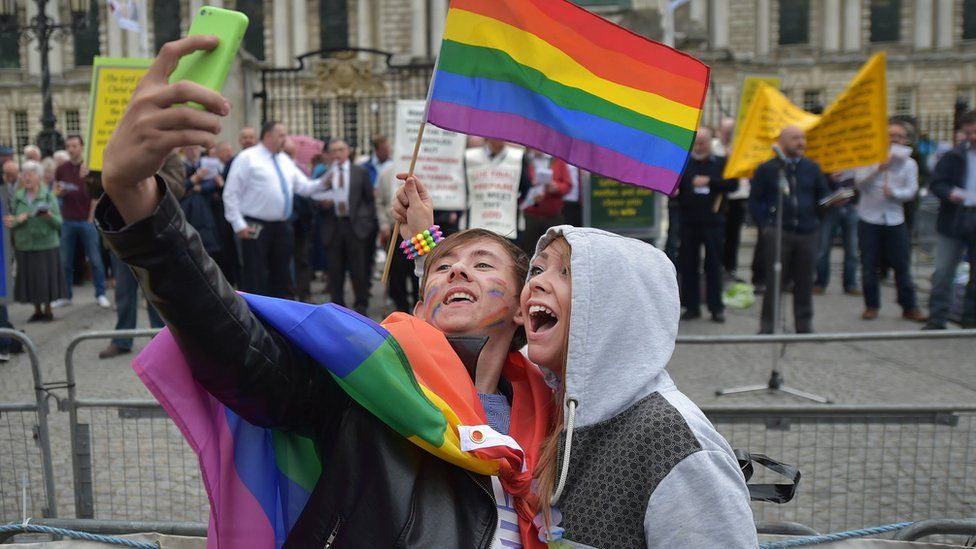 Gay rights campaigners at Belfast Pride 2017