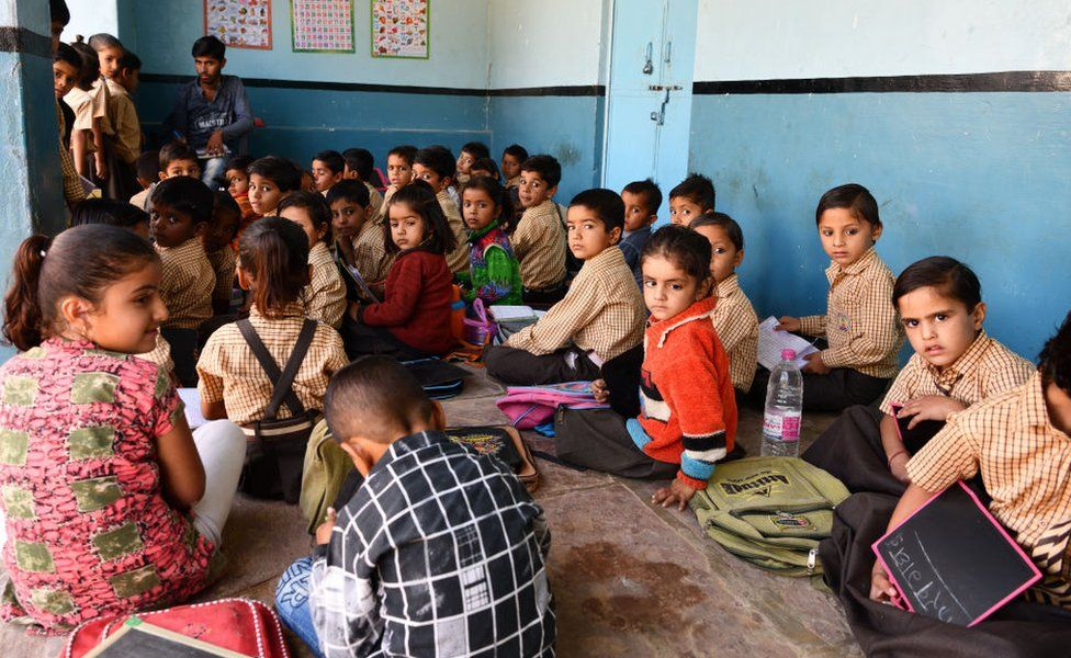 Small school in a village of shepherds and farmers near Bikaner in Rajasthan on November 24, 2018.