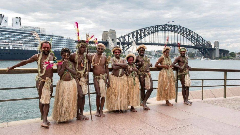 Picture of members of the Yakel tribe visiting Sydney