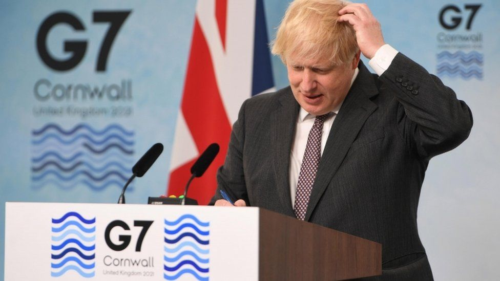 Prime Minister Boris Johnson speaks at a press conference on the final day of the G7 Summit in Carbis Bay