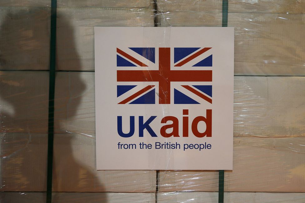 UK aid label attached to box