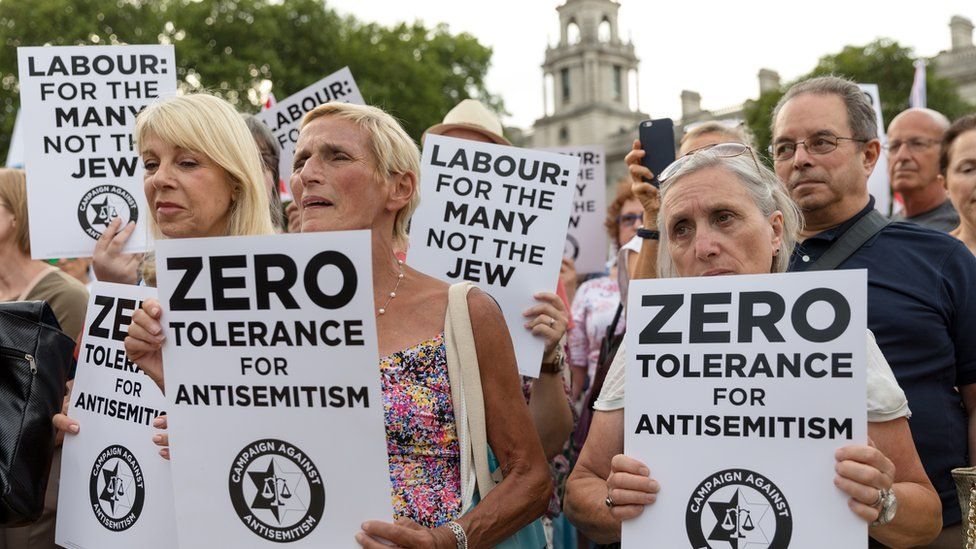 Protesters rally against anti-semitism