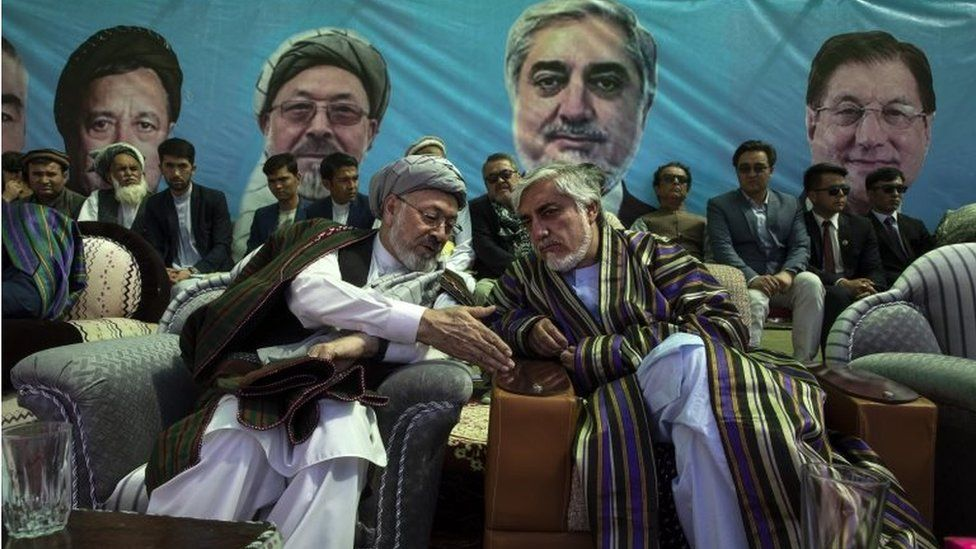 Abdullah Abdullah, Chief Executive of Afghanistan (right) chats with Ustad Abdul Karim Khalili (left) during todays final campaign rally in Bamiyan, Afghanistan on September 25, 2019.