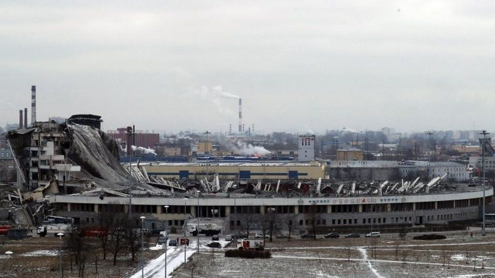 The collapsed sports complex SKK Peterburgskiy in St Petersburg, Russia. Photo: 31 January 2020
