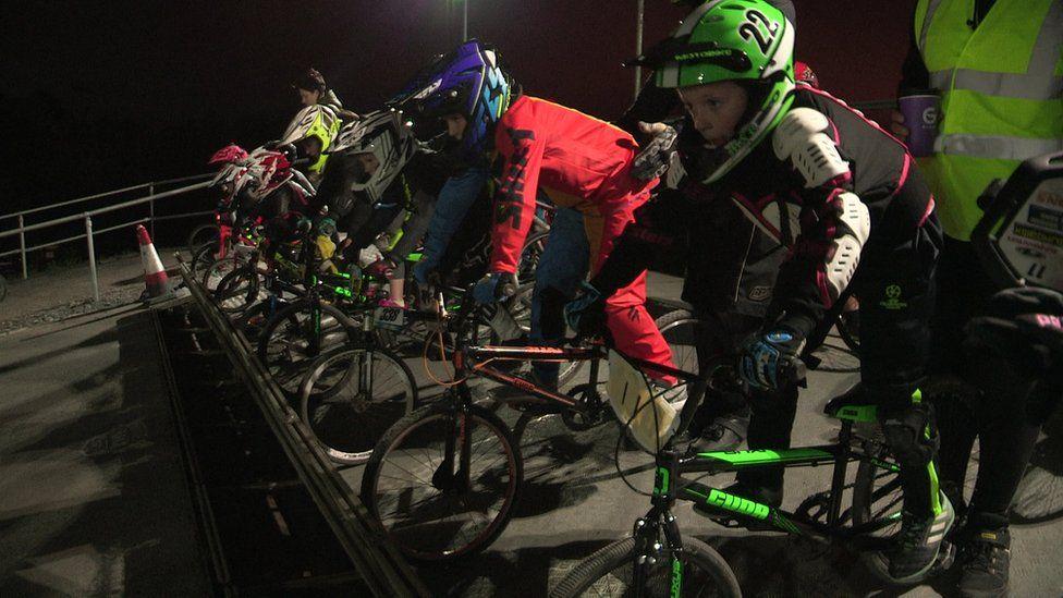 BMX riders at the Lisburn BMX club