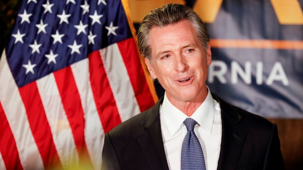California Governor Gavin Newsom speaks after the polls close on the recall election, at the California Democratic Party headquarters in Sacramento, California, on 14 September, 2021
