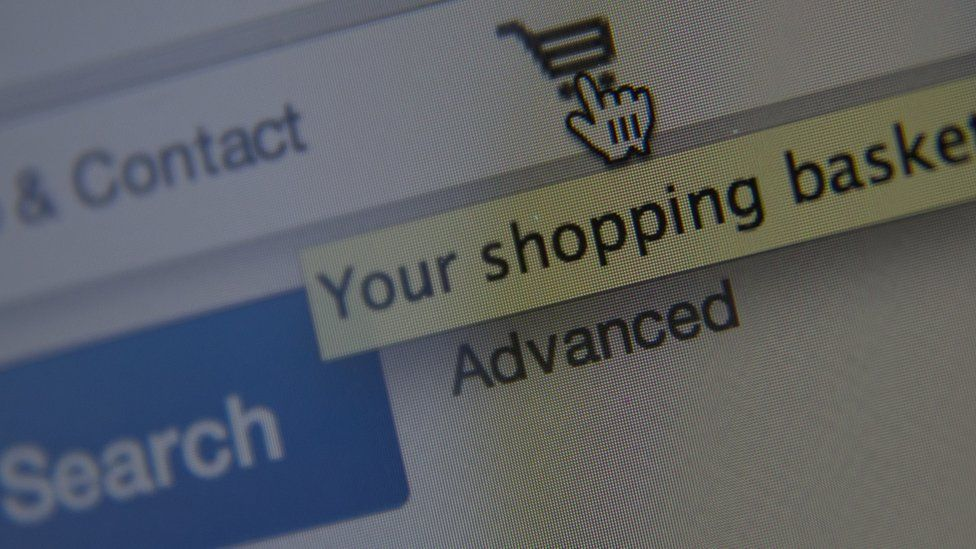 Your shopping basket on screen
