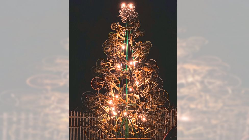 Tree made from recycled bikes