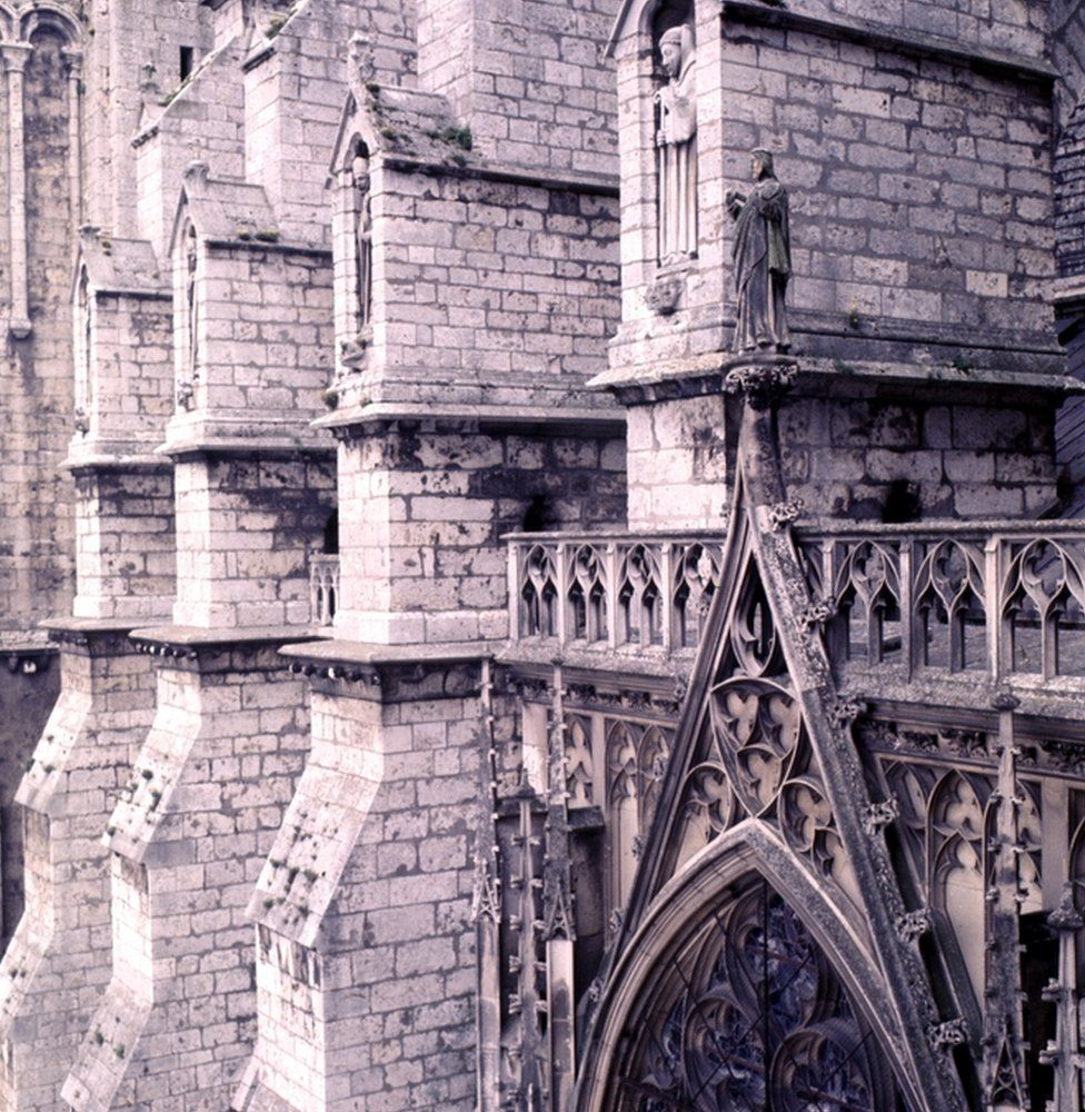 An exterior shot of the Notre-Dame