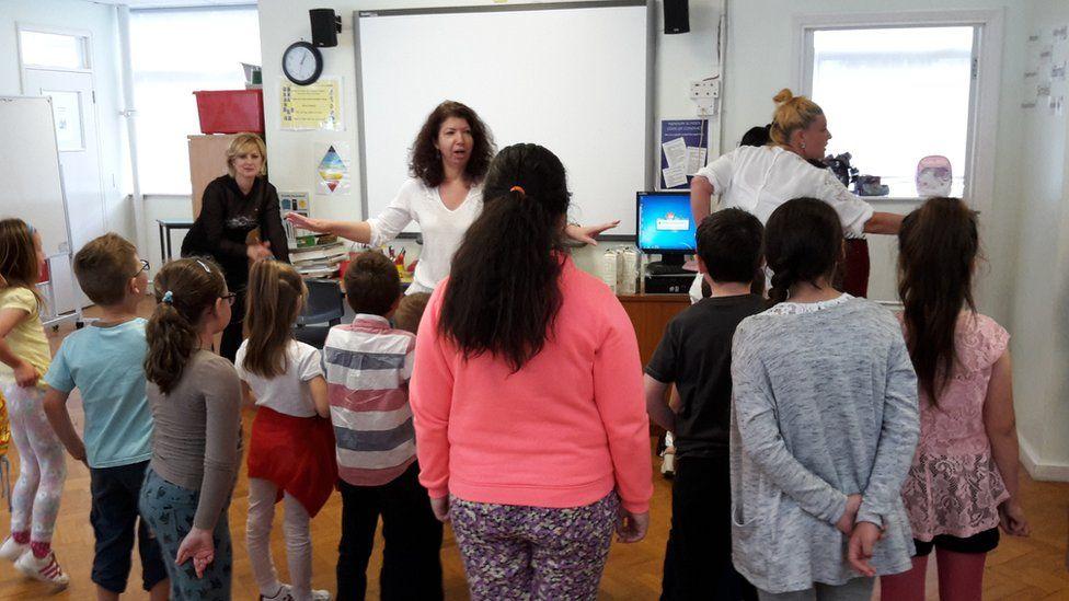 Children at Romanian school in London