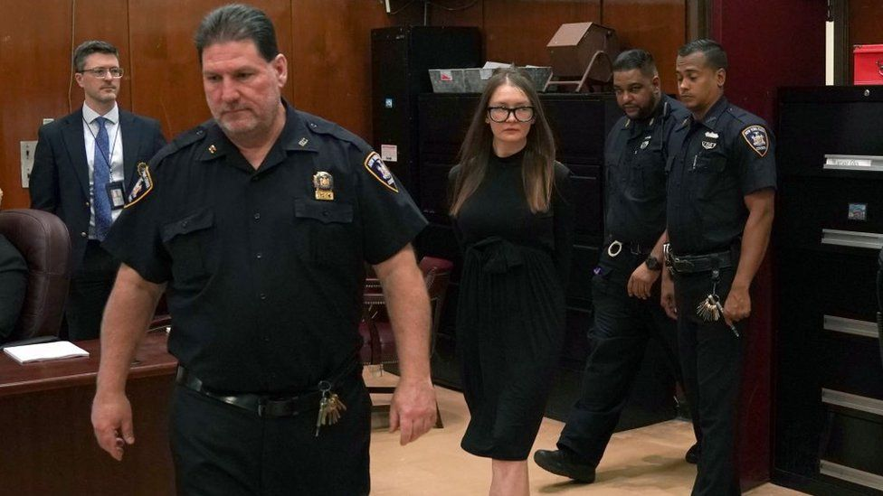 Fake German heiress Anna Sorokin arrives in court during her sentencing at Manhattan Supreme Court May 9, 2019 following her conviction last month on multiple counts of grand larceny and theft of services