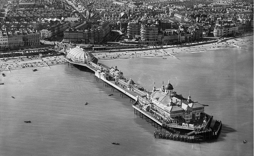 An aerial view of The Pier in Eastbourne, East Sussex, taken in May 1931