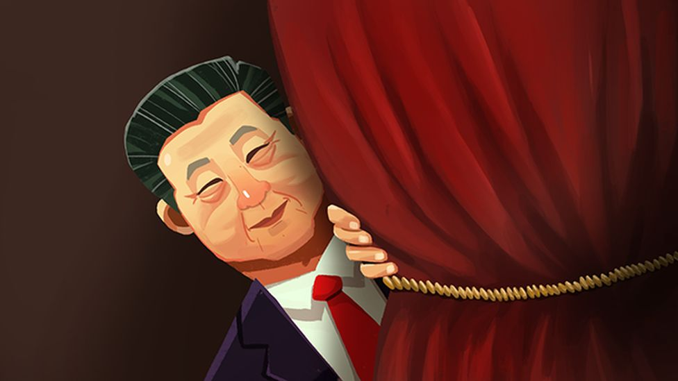 An illustration of Chinese President Xi Jinping peering out from behind a stage curtain.