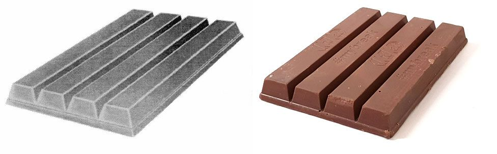 A composite image shows a black and white graphic of a KitKat shape, left, next to a real photographed Kit Kat, right