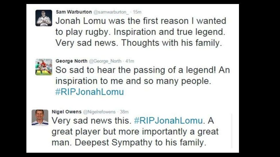 Tweets from Sam Warburton, George North and Nigel Owens paying tribute to Jonah Lomu